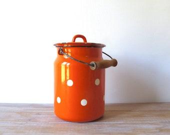 Pot à lait en émail vintage orange à pois blancs, Vintage soviétique russe urss pot à lait émaillé, Pot à lait émail campagne rustique rétro