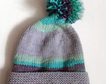 Blue and gray tassel 6-12 month Hat