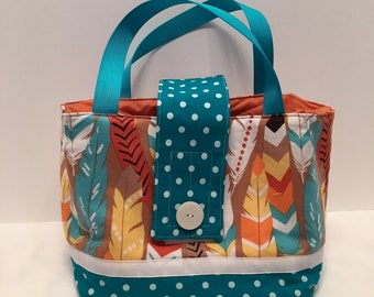 "LBL12- Tall Lunch Bag- Large: ""Feather Light Lunch""  washable insulated lunch bag with drawstring closure at the top."