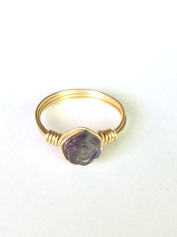 Fluorite Ring, Rose Ring, wire ring, crystal ring, fluorite crystal, natural fluorite, purple and green fluorite crystal ring