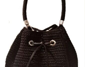 Bucket bag//black cord//crochet/bag/handbag//Made in Italy