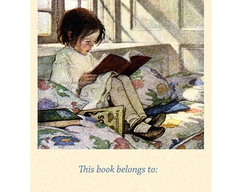 Girl Reading Bookplates - Pack of Ten - Picture Books in Winter - Jessie Willcox Smith Repro
