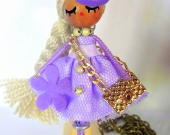 Doll necklace, Doll pendant, Poupee collier