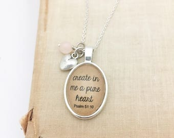 SALE Create in Me a Pure Heart.  Hendersweet Necklace