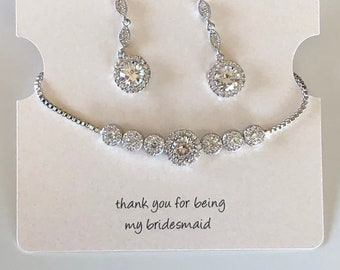 Silver Bridesmaid jewelry bracelet and earrings set silver, bridesmaid bracelet, teardrop bracelet and earrings