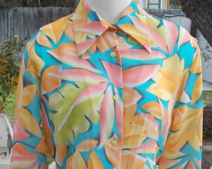 Vintage 90s Tropical Blue Green Orange Pink Polyester Floral Leaf Casual Career Womens Button Long Sleeve Blouse Shirt Top M