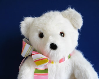 Vintage White Teddy Bear Dakin stuffed animal 1990s Toys Classic Teddy Bear Retro Toy 1990 Toy