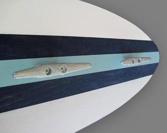 Surfboard Coat Rack with Boat Cleat Hooks, 4 ft White, Sea Foam and Navy Nautical Decor, Coastal Wall Hooks, Towel Hooks