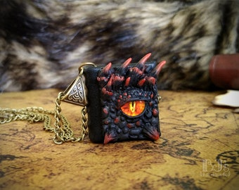 Lava Dragon journal - black and red dragon's eye necklace, little leather book, miniature wearable notebook, handmade glass eye jewelry