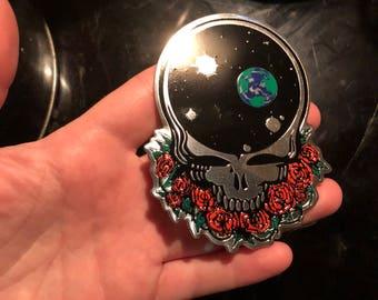 "Grateful Dead Sticker-Metal Space Your Face Sticker-Silver-3.5""x2.75"""