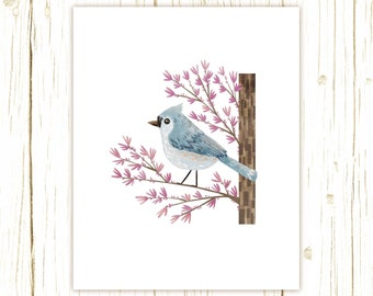 Tufted Titmouse Print -- bird art -- bird art 52 birds stephanie fizer coleman illustration blue purple redbud