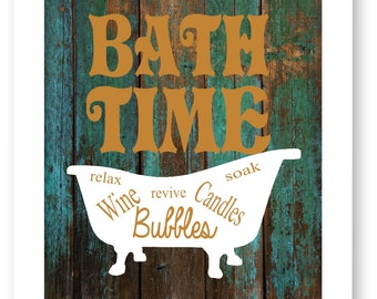 Bathroom Art Print - Bath Time - Bathtub - Bathroom Wall Art - Bathroom Decor - Rustic - Western