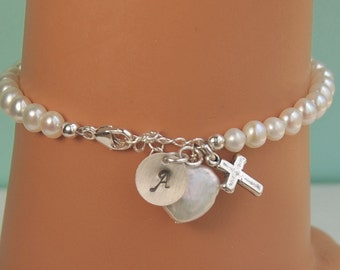 Girl Confirmation Gift Bracelet, Personalized Pearl Bracelet, Heart Pearl, Initial Charm and Cross, Sterling Silver, Religious Gift, ADULT