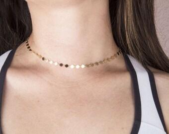 Sequin Gold Choker Necklace, Coin Circle Necklace, Gold Tattoo Choker, Gold Chain Choker, Gold Chain Necklace,Silver, Gold or Rose Gold Coin