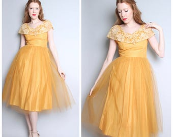 1950's Party Dress / Gold Mustard Yellow Crinoline Dress / 50's Prom Formal / Small