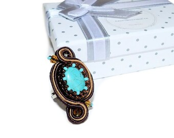 Free shipping USA & Canada. Soutache Adjustable Ring with Turquoise Howlite. Brown Turquoise Teal Cocktail Ring. Soutache Embroidery Jewelry