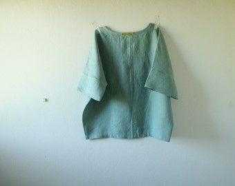 LINEN BLOUSE / linen shirt / womens linen clothing / oversize tee / eco / flax / made in australia / pamelatang