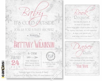 Baby its cold outside baby shower invitation winter baby its cold outside baby shower invitation winter invite snowflake pink girl rustic shabby chic printable or printed free shipping bs39 solutioingenieria Choice Image
