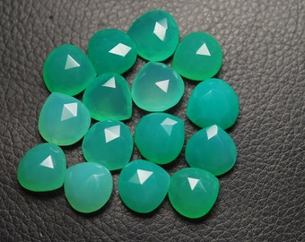 Chrysoprase Chalcedony Faceted Heart Shape Briolettes 15-16mm