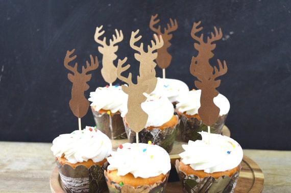 Deer Silhouette Cupcake Toppers - bucks in shades of brown, pink, Lumber Jack, orange, or black