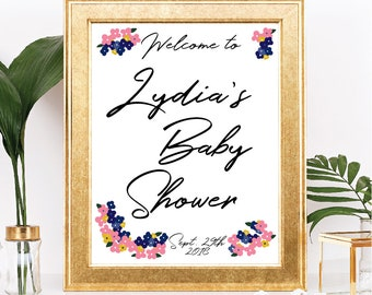 Printable Floral Wreath Baby Shower Sign - Welcome Sign - Customizable Text - Navy, Pink Floral Design, Cursive Script - Digital Download