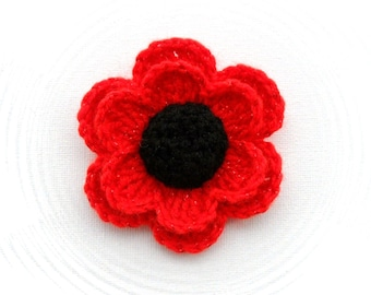 Crochet Poppy Flower - Crochet Brooch - Red Glitter Flower - Crochet Applique - Made to Order