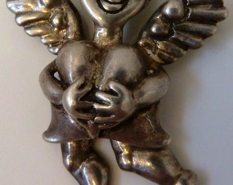 ART to WEAR Designer Copyrighted Big 3D movable legs Sterling 925 Silver Angel Heart pendant