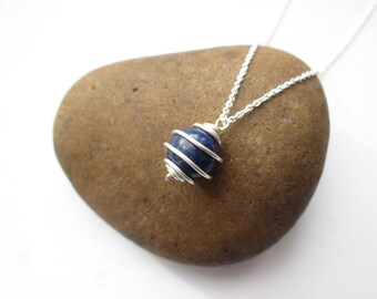 Lapis Lazuli Necklace - Wire Wrapped Pendant, Lapis Lazuli Jewellery, Silver Necklace, Gift for Her, Christmas Gift, Stocking Filler