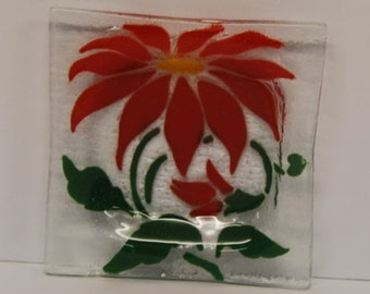 Fused art  glass dish with a POINSETTIA design