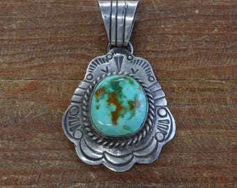 Great Vintage Sterling Silver Navajo Turquoise Pendant