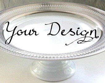 Silver or Gold Custom Wedding Cake Stand Personalized Cake Stand Bespoke Cupcake Stand & Bespoke cake stand | Etsy