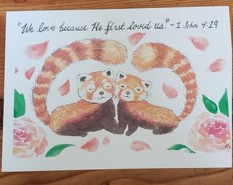 Red Panda Digital Print and card set 5x7, wall art, The Treasured Pearl