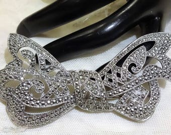 Large Vintage Marcasite Bow Brooch