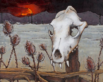 Wolf Skull Wood Burning - Print