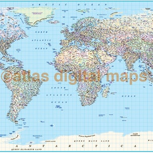 Map with countries etsy ca sale political world map canvas with country insets rolledwide gumiabroncs Image collections