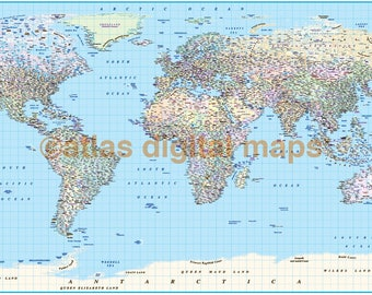 SALE! Political World Map Canvas with Country Insets (Rolled/Wide)