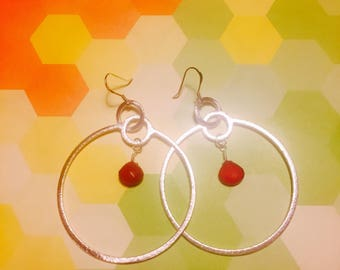 Silver hoops/ Dyed Chalcedony or Prehnite