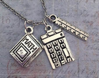 Math Necklace - Teacher Jewelry - Math Jewelry - Education Jewelry - School Jewelry - Math Lover Jewelry - I Love Math Necklace -Mathematics