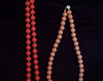Bright Pink and Blush Plastic Necklaces #003