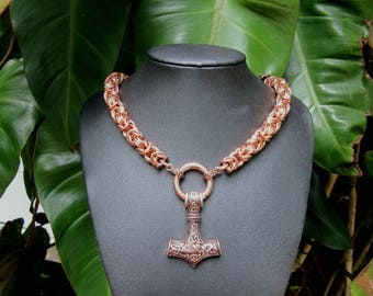 Solid Copper Chainmaille Torc with Copper Mjolnir