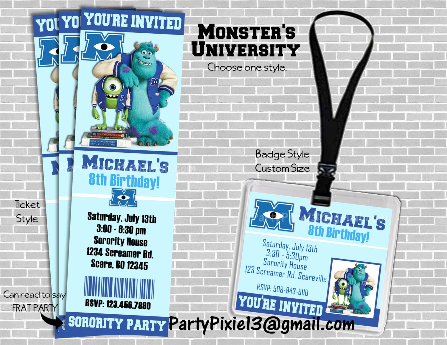Cute Monsters University Party Invitations Images - Invitation Card ...