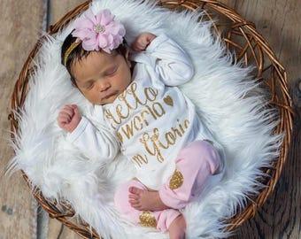 Newborn Girl Personalized Baby Girl Coming Home Outfit Hello World Newborn Girl Outfit Baby Girl Clothes Newborn Girl Clothing Baby Gift