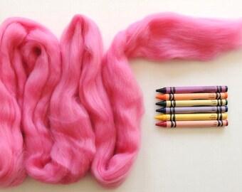 MERINO WOOL ROVING / Perfect Pink 1 ounce / merino wool top / wool for felting / doll hair / weaving / tapestry / dreadlocks / wool dreads