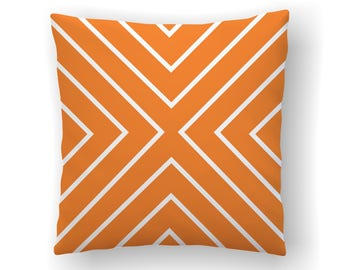 Orange Chevron Pillow Cover, Herringbone Pillow, Modern Nursery Decor, Geometric Pillow, Zig Zag Cushion cover, Couch Throw Pillow