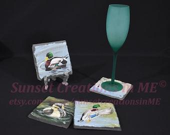 Duck, Mallard Duck, Duck Coasters, Duck Art, Duck Decor, Duckling, Country Decor, Handpainted Coasters, Slate Coaster, Acrylic Painting
