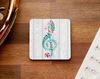 Botanical Treble Clef Music Themed Coaster