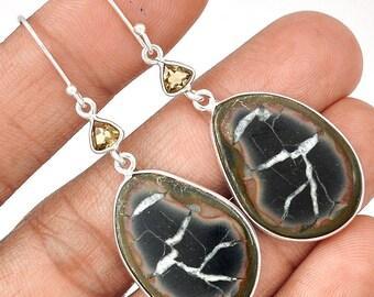 "Septarian Geode Earrings set in solid sterling Silver. 2 1/4"" Long. 7747"