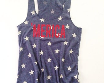 Merica Tank Top //Stars Tank Top // American Flag Clothing Red Glitter Merica Tank Top Stars and Stripes