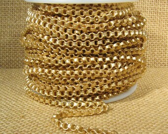Box Link Rolo Chain - Matte Gold - 4mm x 2mm Links - CH105
