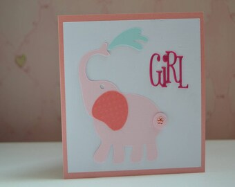 Card congratulations baby girl pink elephant